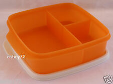 TUPPERWARE DIVIDED SQUARE SANDWICH & SNACKS LUNCH BOX MANGO ORANGE & WHITE NEW