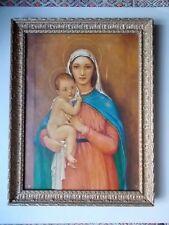 """Huile sur Toile Ancienne """" Vierge a l' Enfant """""""