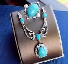 Certified Blue Turquoise 925 Sterling Silver Ring Pendant Set+Chain Women Gift