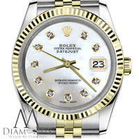 Women's Rolex 26mm Datejust 18K SS 2 Tone White MOP Mother of Pearl Dial Jubilee