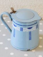 Antique Vintage French Enameled Coffee or Milk Pot - ART DECO style 1920