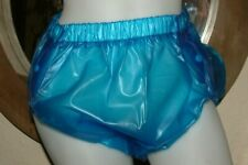 AB ADULT BABY PVC PLASTIC BLUE 3 SIDE POPPER NAPPY DYPER  PANTS   L