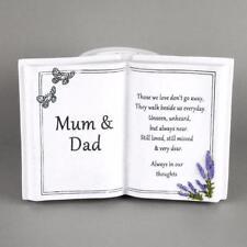 Mum and Dad Memorial Remembrance Bible Book Ornament With Vase 61983 BNIB
