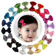 20 Pcs 6cm Baby Hair Bows Boutique Girls Clip Grosgrain Ribbon Accessories
