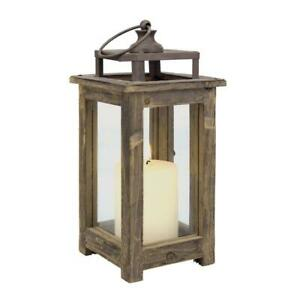 Stonebriar Collection 12 in. H Rustic Wood Lantern