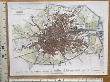 "Old Antique colour map of Dublin, Ireland: early 1800's: 12"" x 9 SDUK Repro"