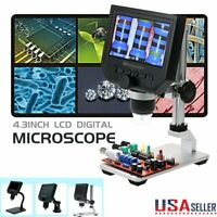 "Portable 4.3"" 600X LCD Monitor Electronic Digital Microscope LED Magnifier 1080P"