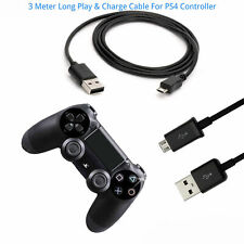 3M Long Play & Charge Cable for PS4 Controller GamePad Pad Charging Charger Lead