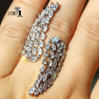 925 Silver Filled White Sapphire Birthstone Engagement Wedding Brand Ring Gift