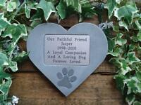 Personalised Dog Memorial Stone Heart with Large Pawprint for Garden and/or Tree