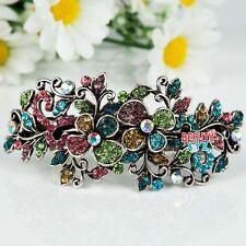 Woman's new flowers silver plated metal fashion rhinestone hair clip Barrette