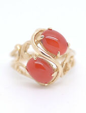 Genuine Natural Hawaiian Oval Cabochon Red Coral Ring 14k Yellow Gold Ring