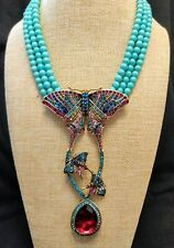 "Heidi Daus ""Butterfly Fantasy"" 3-Strand Beaded Crystal Drop Necklace NWT"