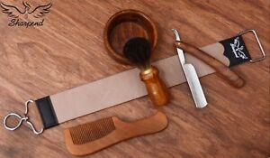 Barber Shaving Kit Set Straight Razor Shaving Brush Strop Wooden Box Father Gift
