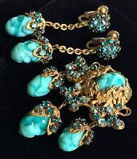 Vintage Miriam Haskell Brooch Earrings Set~Art Glass/Crystals/Gold Tone Filigree