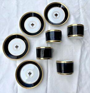 RARE LOT 4 RICHARD GINORI DEMITASSE CUPS/SAUCER IMPERO Gold Encrusted URN Black