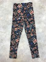 LuLaRoe Girls Black/Red/White/Blue Poly Blend Flag Pattern Leggings Sz S/M