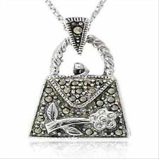 925 Silver Marcasite Purse with Flower Pendant, 18""