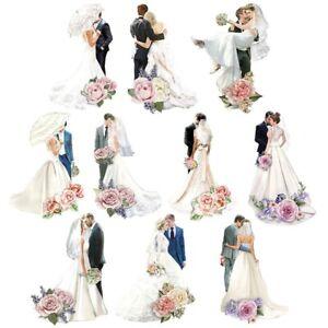 10 Stk. ausgestanzte 3D Motive Glitter Toppers Hochzeit Brautpaare  (10687
