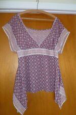 SANDWICH Purple Floral Printed Chiffon Women Blouse Kimono Top Size 36 (6US