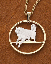 "Eskimo Dog Pendant ,Handcut Canadian Coin 14K& Rhodium 1"" diameter ) # 616 )"