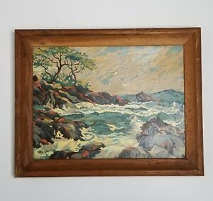 Vtg Paint By Number Completed Framed Rocky Coastline Seacost