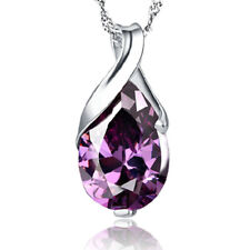 925 Sterling Silver Amethyst Pendant Necklace Women Jewellery Birthday Gift A102