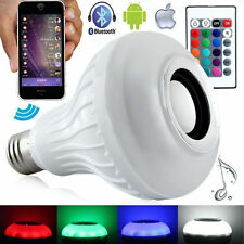 12W E27 LED Bulb Light Wireless Bluetooth Speaker Music Playing Lamp Remote RGB