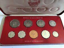 1976 Republic of Malta Proof Set, 9 Coins, struck by the Franklin Mint w/ COA