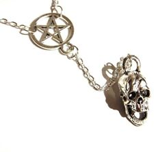 SILVER SKULL & INVERTED PENTAGRAM NECKLACE pentacle satanic devil pendant F2