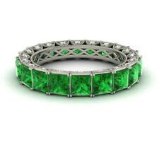 4.40 Ct Genuine Emerald Eternity Band 950 Platinum Diamond Ring Size 9.5