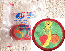 12 HEALTHY EATING Girl Scout Red Worlds Explore Badge NEW 1-DOZ. PKG Multi=1 Shi