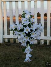 Silk White Lilies CountryCross Memorial Sympathy Cascading Flower Wreath Stand