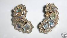 Vintage Clear Beaded Clip Earrings NICE!
