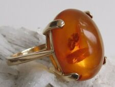 Honey amber with inclusions 14k Gold ring vintage 5.5 grams size 6.75 nice size!