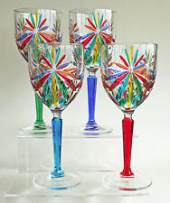"GLASSWARE - ""SORRENTO"" WINE GLASSES - SET OF FOUR - HAND PAINTED VENETIAN GLASS"