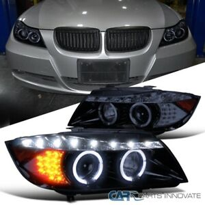 For Glossy Black 06-08 BMW E90 3-Series LED Signal Projector Headlights