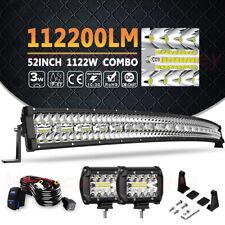"Curved 52"" LED Light Bar 1122W+Pods Combo Offroad For Honda Pioneer 1000 UTV 50"""
