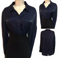 Glam Mistress UK 16 Dark Blue Shiny Satin Ladylike TV Blouse Top Secretary