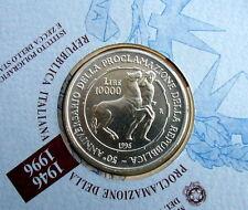 1996 Italy 10.000£ rare silver coins 50th Repubblica UNC/BU in official folder