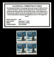 1963 - National Christmas Tree - #1240 - Mint -MNH- Block of Four Postage Stamps