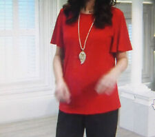 Susan Graver Plain Angel Sleeve Top in red new UK Large new