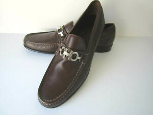 Salvatore Ferragamo Shoes Loafers Size 12B NEW Brown With Silver Buckle