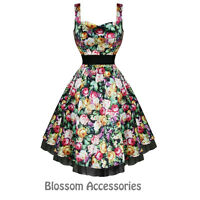 RKH40 Hearts and Roses H&R Floral Sleeveless Rockabilly Dress 50's Vintage Swing