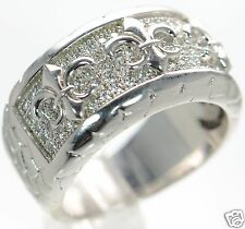 Solid 925 Sterling Silver Lab Simulated Diamond Fleur De Lis Band Ring Sz-6 '