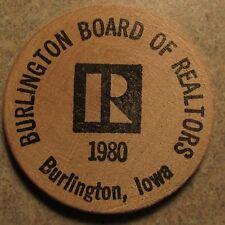 1980 Burlington, IA Board of Realtors Wooden Nickel - Token Iowa