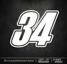 4X Set RACE NUMBERS LARGER DECAL STICKER 140mm High. House Number Street Bin No.