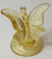 Fenton Art Glass Butterfly figurine / Ring Holder Buttercup yellow