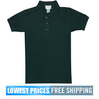 BasicLine Boys NWT Hunter Green Pique Polo Shirt School Uniform $9.99 Free Ship