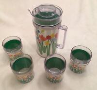 Vintage FLOWER POWER Audrey St. Tropez Pitcher & 4 Tumbler Cups Thermo-Serv Set